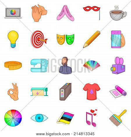 Artwork icons set. Cartoon set of 25 artwork vector icons for web isolated on white background