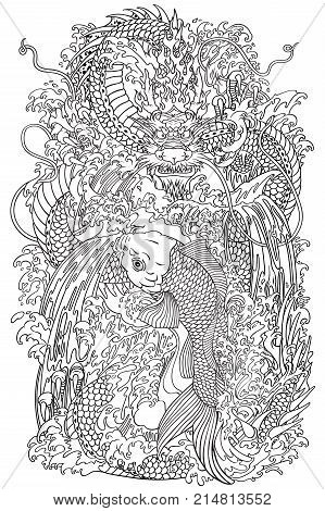 Chinese dragon and koi carp fish which is trying to reach the top of the waterfall. Coloring page outline vector illustration according to ancient Chinese and Japanese myth