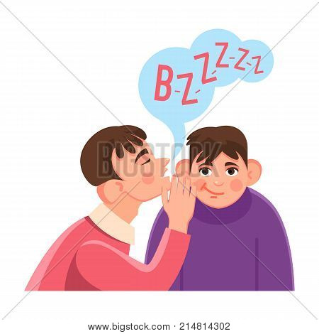 Man whispers secret in friends big ear with speech cloud above where buzz sound written isolated cartoon flat vector illustration on white background.