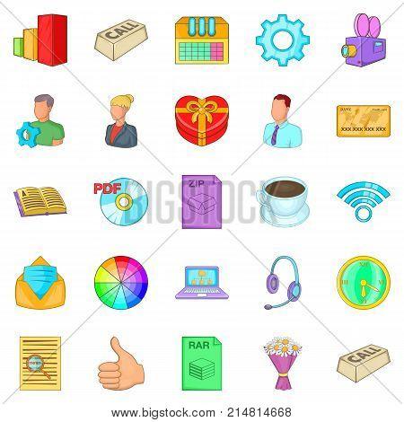 Aggressive marketing icons set. Cartoon set of 25 aggressive marketing vector icons for web isolated on white background