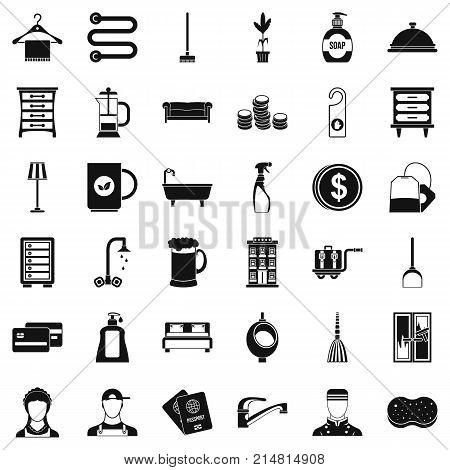Inn icons set. Simple style of 36 inn vector icons for web isolated on white background