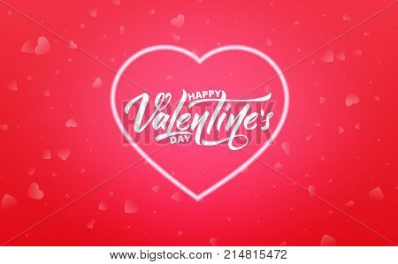 Valentines Day. Banner for Valentine's Day sale, promotion, discounts etc. Valentine's background with script lettering and neon glowing heart.