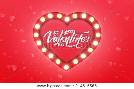 Valentines Day. Banner for Valentine's Day sale, promotion, discounts etc. Valentine's background with script lettering and marquee glowing heart.