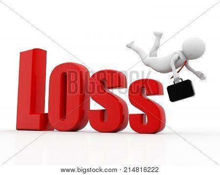 Stock Market Falling, Business Crisis Concept, Business man falling from Loss, Financial crisis concept, Economic Crisis. Business fall, 3d rendering