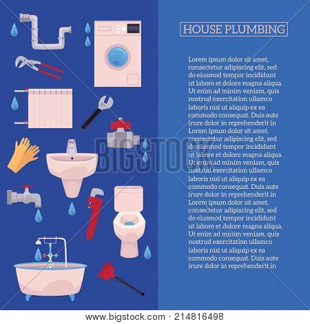 vector house plumbing poster with plumbing tools, space for text. Bath tube, sink, washing machine, toilet bowl. Gloves, adjustable, pipe monkey wrench, water valve, plunger illustration