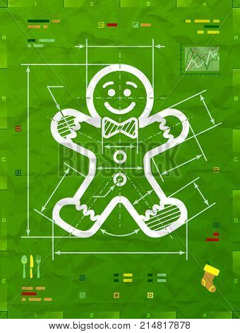 Gingerbread man symbol as technical blueprint drawing. Drafting of gingerbread man sign on crumpled paper. Vector image for christmas new years day decoration winter holiday design silvester etc