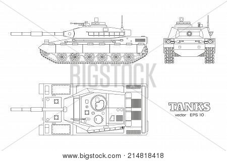 Realistic tank blueprint. Outline armored car on white background. Top side front views. Army weapon. War camouflage transport. Vector illustration
