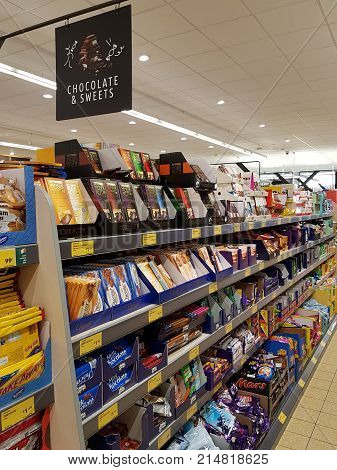 Ennis, Ireland - Nov 17Th, 2017:  Aldi Store In Ennis County Clare, Ireland. Selection Of Various Ch