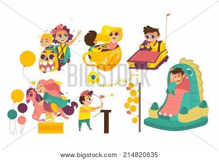 Kids, children having fun in amusement park, riding carousels, showing arrow, jumping in bouncy castle, cartoon vector illustration isolated on white background. Happy kids enjoying amusement park