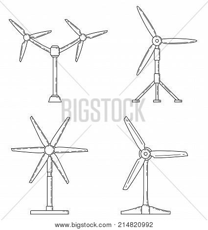 Set of different tidal power station rotters. Clean water energy source. Innovation power station. Vector illustration.