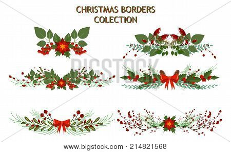 Christmas tree branch decoration frame divider holiday garland. Border xmas vector illustration winter celebration nature new year spruce design ornament decor plant coniferous twig.