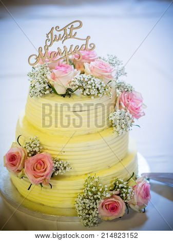 Wedding cake with pink roses and cream