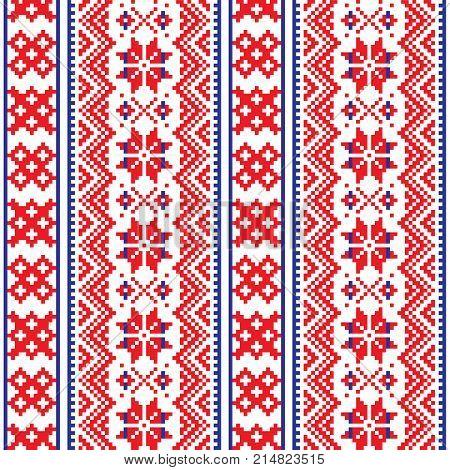 Lapland seamless vector pattern, Scandianvian folk art design, Sami cross stitch background