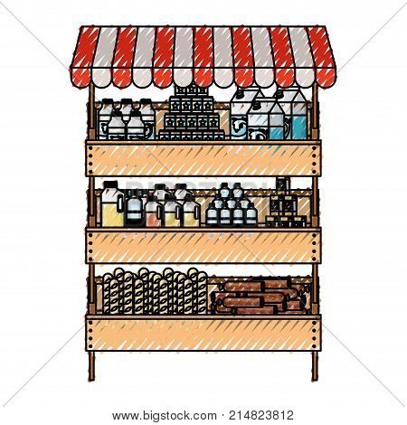 supermarket shelf with sunshade colorful with foods and beverages in colored crayon silhouette vector illustration