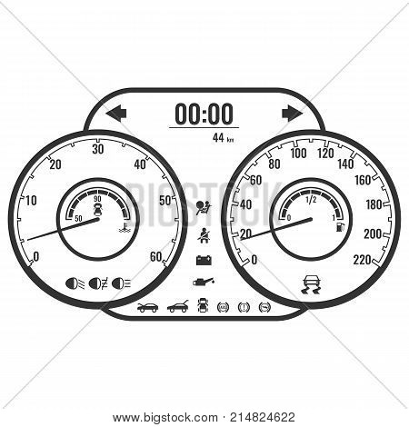 Dashboard instrument control panel or fascia in simple style design, black and white colors displaying instrumentation and operations with car vector