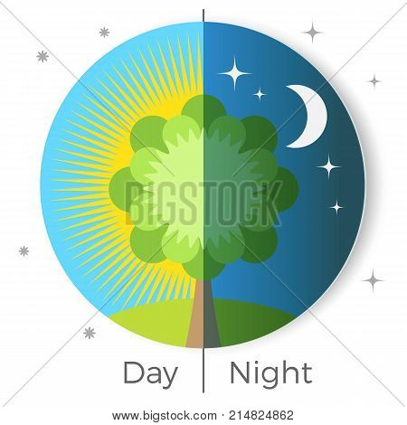 Day and night conceptual vector illustration depicted on Earth globe in light and dark period of time, tree on background of sun and moon in circle button