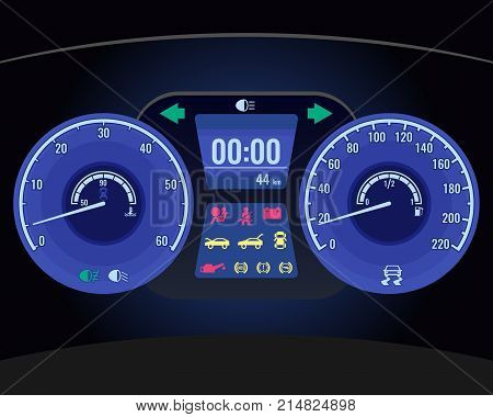 Dashboard instrument control panel or fascia located directly ahead of vehicle's driver, displaying instrumentation and controls operations with car realistic vector