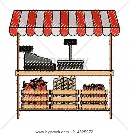 supermarket shelf with weighing machine and cash register and sunshade with foods in colored crayon silhouette vector illustration