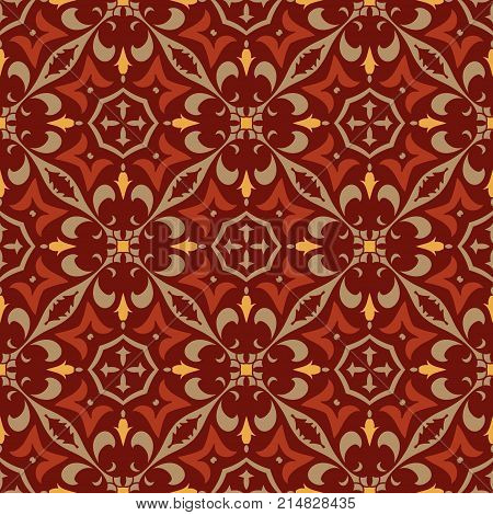 Vector seamless texture. Beautiful colored pattern for design and fashion with decorative elements. Portuguese, Moroccan, Turkish, asian ornaments. Oriental geometric and floral motifs