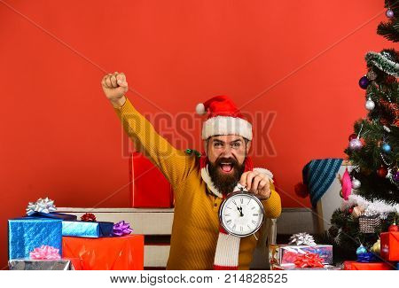 Man With Beard And Cheerful Face Celebrates Christmas.