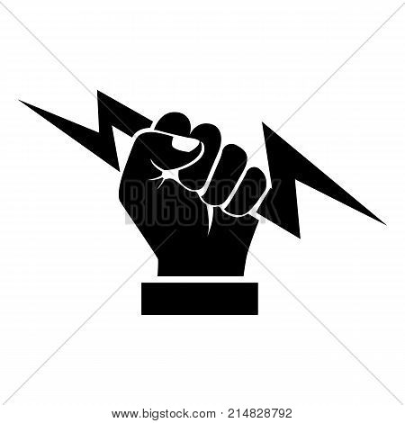 Lightning holding in hand black silhouette. Vector illustration flat design. Isolated on white background. Gesture with a fist pictogram. Symbol of victory and leader. Power icon.