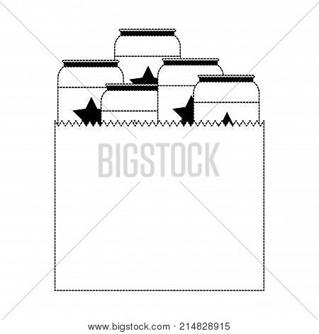 paper bag with canned beers in black dotted silhouette vector illustration
