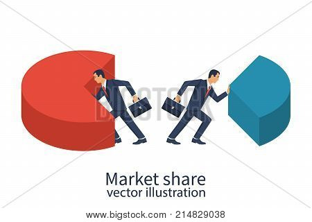 Market share business concept. Businessmen pushing in different directions pie chart. Economic financial share profit. Vector illustration flat design. Isolated on white background.