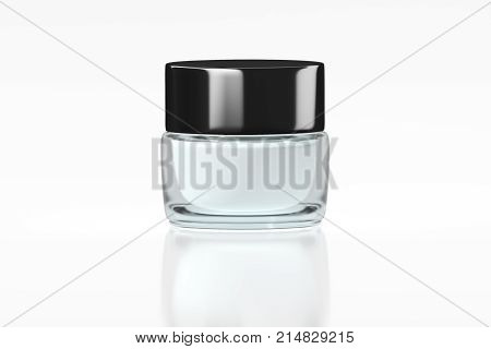 White glass jar with glossy plastic lid isolated on white background and reflection. 3D rendering