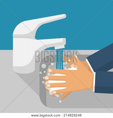 Wash hands in sink. Man holding soap in hand under water tap. Arm in foam soap bubbles. Vector illustration flat design isolated on background. Personal hygiene. Disinfection, antibacterial washing. poster