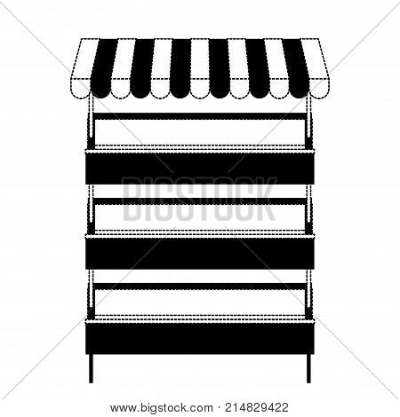 supermarket shelves with big storage with three levels and sunshade in black dotted silhouette vector illustration