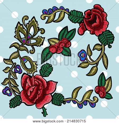 Embroidery floral patches with simplified roses and rowanberries. Vector embroidered flowers elements for fashion design.