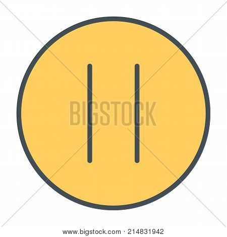 Pause button. 96x96 vector line icon isolated on white background