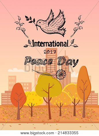 International peace day vector illustration with dove holding twig in beak. Pigeon with branch as symbol of harmony and love autumn city landscape