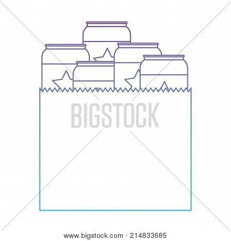 paper bag with canned beers in degraded purple to blue color contour vector illustration