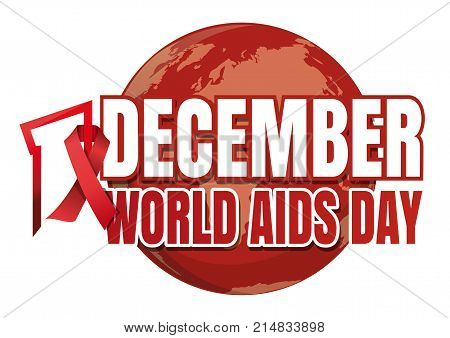 World Aids Day. 1 December. Red ribbon of AIDS awareness on globe. Logo with planet Earth and red ribbon. World Aids Day concept. Vector illustration