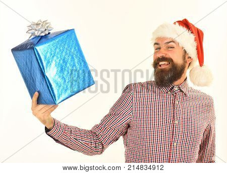 Man With Beard And Cheerful Face Isolated On White Background