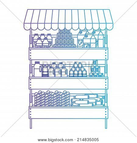 supermarket shelf with sunshade and foods and beverages in degraded purple to blue color contour vector illustration