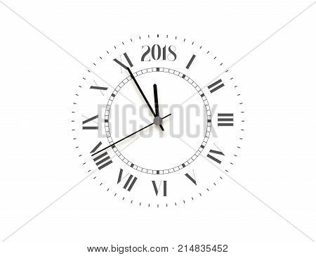 2018 New Year black clock, five minutes to midnight. Merry Christmas.
