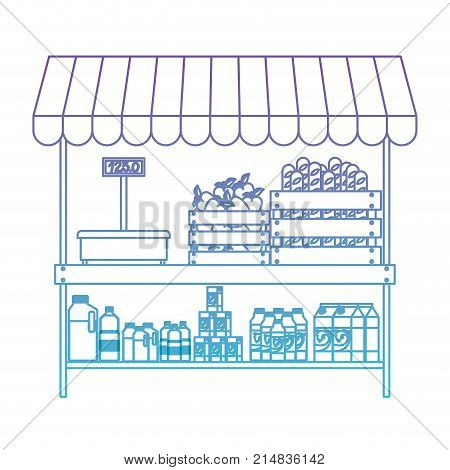 supermarket shelf with weighing machine and sunshade with foods and beverages in degraded purple to blue color contour vector illustration