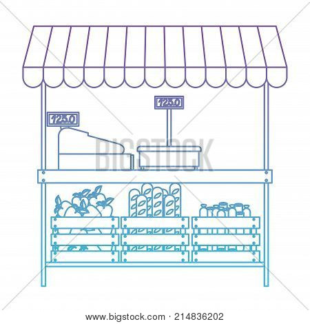 supermarket shelf with weighing machine and cash register and sunshade with foods in degraded purple to blue color contour vector illustration