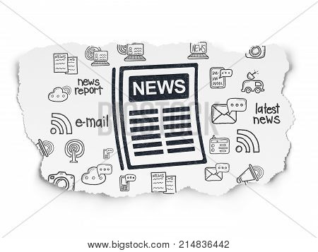 News concept: Painted black Newspaper icon on Torn Paper background with  Hand Drawn News Icons
