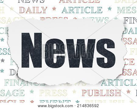 News concept: Painted black text News on Torn Paper background with  Tag Cloud