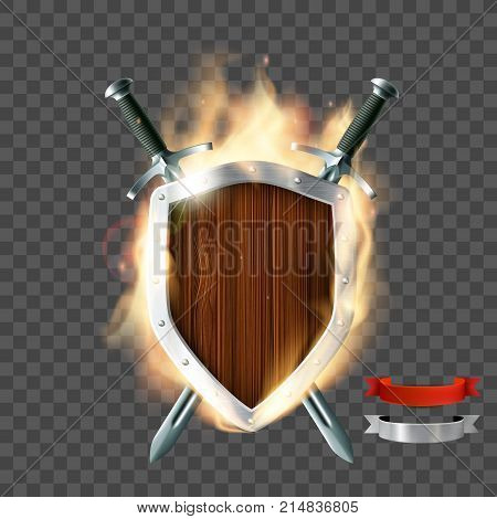 Coat of arms a wooden shield with swords and ribbon on fire. Isolated on a transparent background. Stock vector illustration.