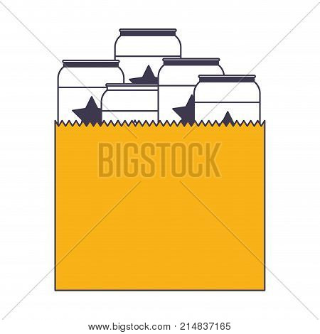 paper bag with canned beers in color sections silhouette vector illustration