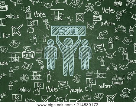 Politics concept: Chalk Blue Election Campaign icon on School board background with  Hand Drawn Politics Icons, School Board