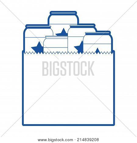 paper bag with canned beers in blue silhouette vector illustration
