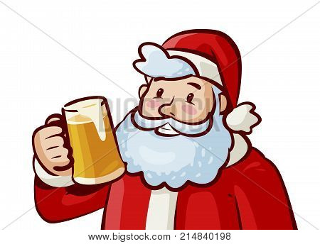 Happy Santa Claus with mug of fresh beer in hand. Christmas, xmas concept. Vector cartoon illustration isolated on white background