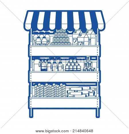supermarket shelf with sunshade colorful with foods and beverages in blue silhouette vector illustration