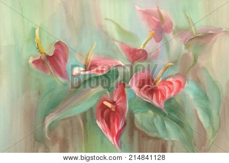 Bouquet of red anthurium flowers. Watercolor hand drawing illustration