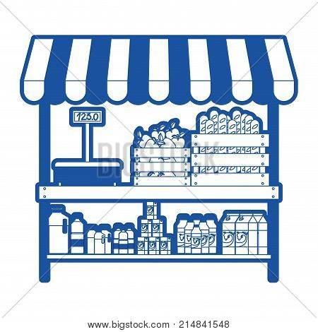 supermarket shelf with weighing machine and sunshade with foods and beverages in blue silhouette vector illustration